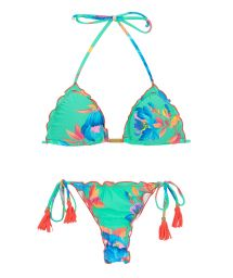 Pastel blue side-tie string bikini - ACQUA FLORA MICRO
