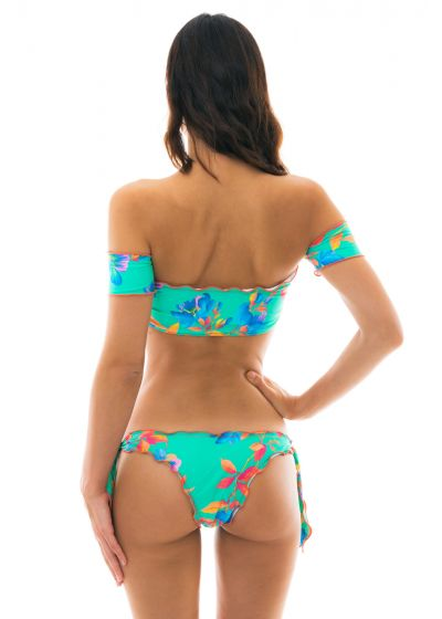 Off-shoulder turquoise crop top bikini - ACQUA FLORA OFF SHOULDER