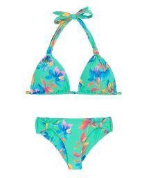 Turkos, blommönstrad bikini med halterneck - ACQUA FLORA REGULAVEL