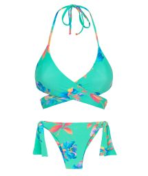 Blekgrön, blommönstrad bikini, bh med omlottknytning - ACQUA FLORA TRANSPASSADO