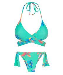 Floral turquoise wrap bikini - ACQUA FLORA TRANSPASSADO