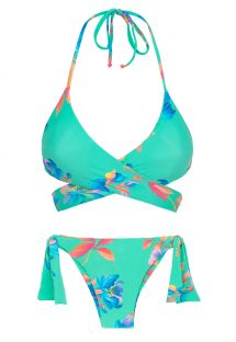 Bikini con top incrociato floreale turchese - ACQUA FLORA TRANSPASSADO
