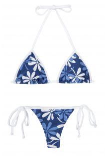 Bikini med g-streng og blå/hvide blomster - AGUA VIVA