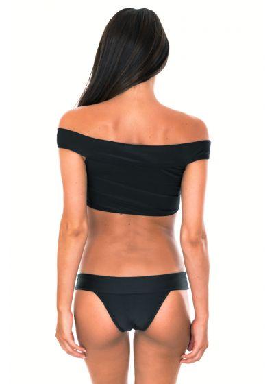 Svart brasiliansk bikini med kort överdel och Bardotinspirerad halslinning - ALL BLACK