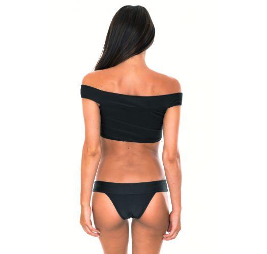 Bikini brasileño negro y top crop con cuello Bardot - ALL BLACK