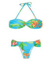 Blue floral bandeau swimming suit - ALOHA BANDEAU FRANZIDA