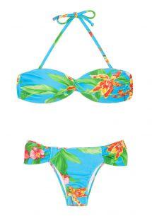 ブルーの花柄入りバンドゥ水着 - ALOHA BANDEAU FRANZIDA
