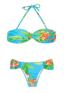 Bikini bandeau azul con flores - ALOHA BANDEAU FRANZIDA