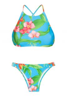 Crop top bikini with cross-over back and tropical flowers - ALOHA CROPPED BASICO
