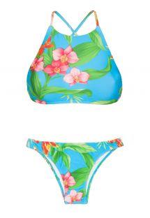 Geblümter Crop-Top-Bikini mit Kreuzträgern - ALOHA CROPPED BASICO