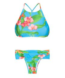 Crop top swimsuit with tropical flowers - ALOHA CROPPED FAIXA