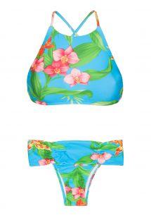 Купальник с кроп-топом с тропическими цветами - ALOHA CROPPED FAIXA