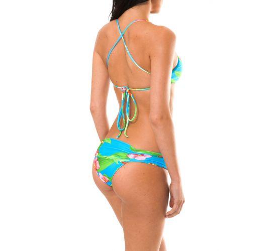 Bikini med kort topp, tropiskt blommönster - ALOHA CROPPED FAIXA