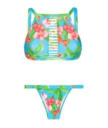 Floral crop top bikini, strappy neckline - ALOHA CROPPED TIRAS