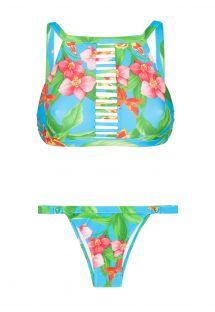 Gecropte bikini met bloemen, geregen voorkant - ALOHA CROPPED TIRAS