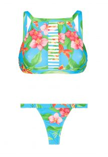 Strappy floral bikini crop top, thong bottom - ALOHA CROPPED TIRAS FIO