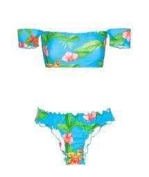 Bardot off-shoulder bandeau bikini with tropical flowers - ALOHA OFFSHOULDER BASIC