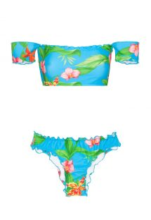 Bardot off-shoulder bandeau bikini with tropical flowers - ALOHA OFFSHOULDER BASIC
