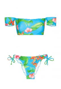 Off-shoulder bandeau bikini with tropical flowers - ALOHA OFFSHOULDER LACINHO