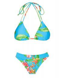 Doublestrap blue floral triangle bikini - ALOHA TRI CHEEKY