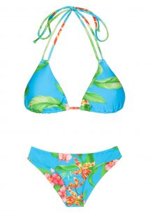 Double strap blue floral triangle bikini - ALOHA TRI CHEEKY