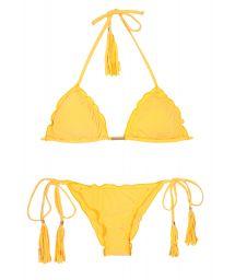 Yellow scrunch Bikini with bubbles and undulated edges. - AMBRA FRUFRU MELON