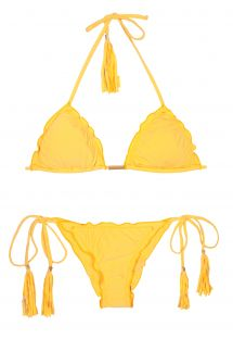 Yellow scrunch Bikini with bubbles and undulated edges. - AMBRA FRUFRU MELON