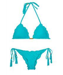 Sky blue Brazilian bikini with wavy edges - AMBRA FRUFRU NANNAI