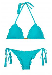Sky blue Brazilian bikini with wavy edges - AMBRA FRUFRU NANNAI