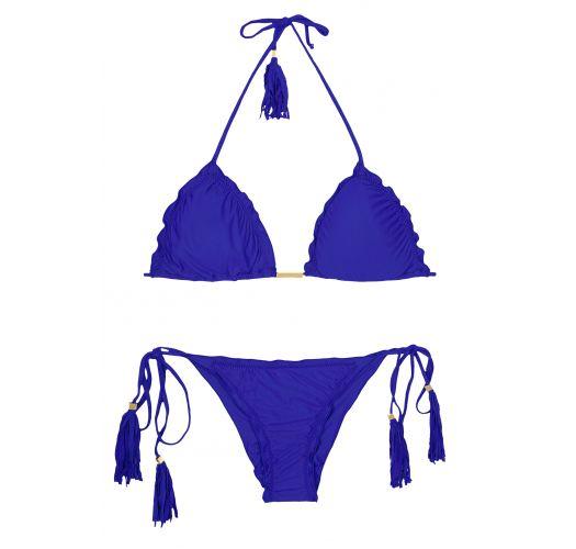 Deep blue scrunch bikini with fringed bubbles - AMBRA FRUFRU PLANETARIO