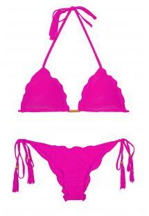Bikini a triangolo rosa tendente al fucsia con pompon - AMBRA FRUFRU ROSA CHOQUE
