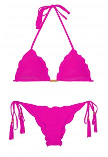 Fuchsia pink triangle bikini with tassels - AMBRA FRUFRU ROSA CHOQUE