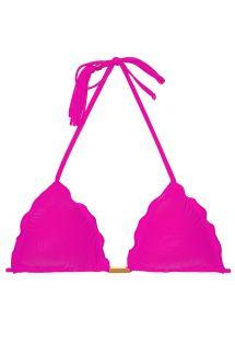 Sutiã de biquíni triângulo cor-de-rosa fúcsia, pompons - SOUTIEN AMBRA FRUFRU ROSA CHOQUE