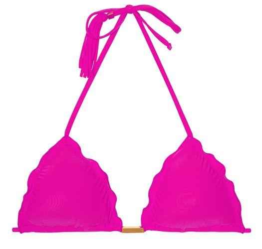Fuchsia pink triangle bikini top, tassels - SOUTIEN AMBRA FRUFRU ROSA CHOQUE