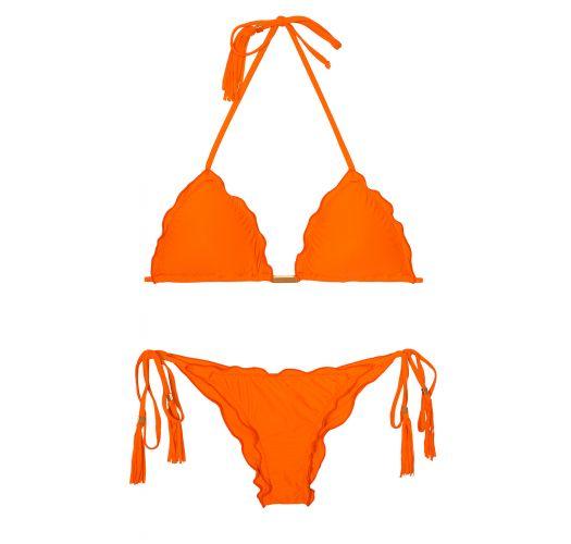 Orange scrunch bikini with fringed tassels - AMBRA FRUFRU SOMBRERO