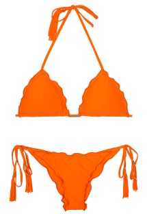 Orange scrunch bikini with fringed tassels - AMBRA FRUFRU SOMBRERO