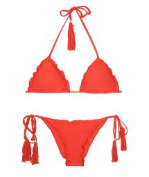 Red scrunch bubble bikini with undulated edges - AMBRA FRUFRU URUCUM