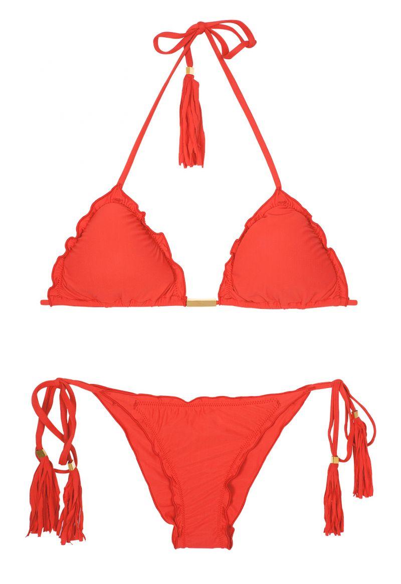 Red scrunch bubble bikini with undulated edges - AMBRA FRUFRU URUCUM