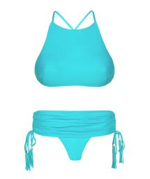 Blue bikini crop top and skirt-style Brazilian bottoms - AMBRA JUPE NANNAI