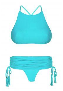 Niebieskie bikini crop top, majteczki brazylijskie typu spódniczka - AMBRA JUPE NANNAI