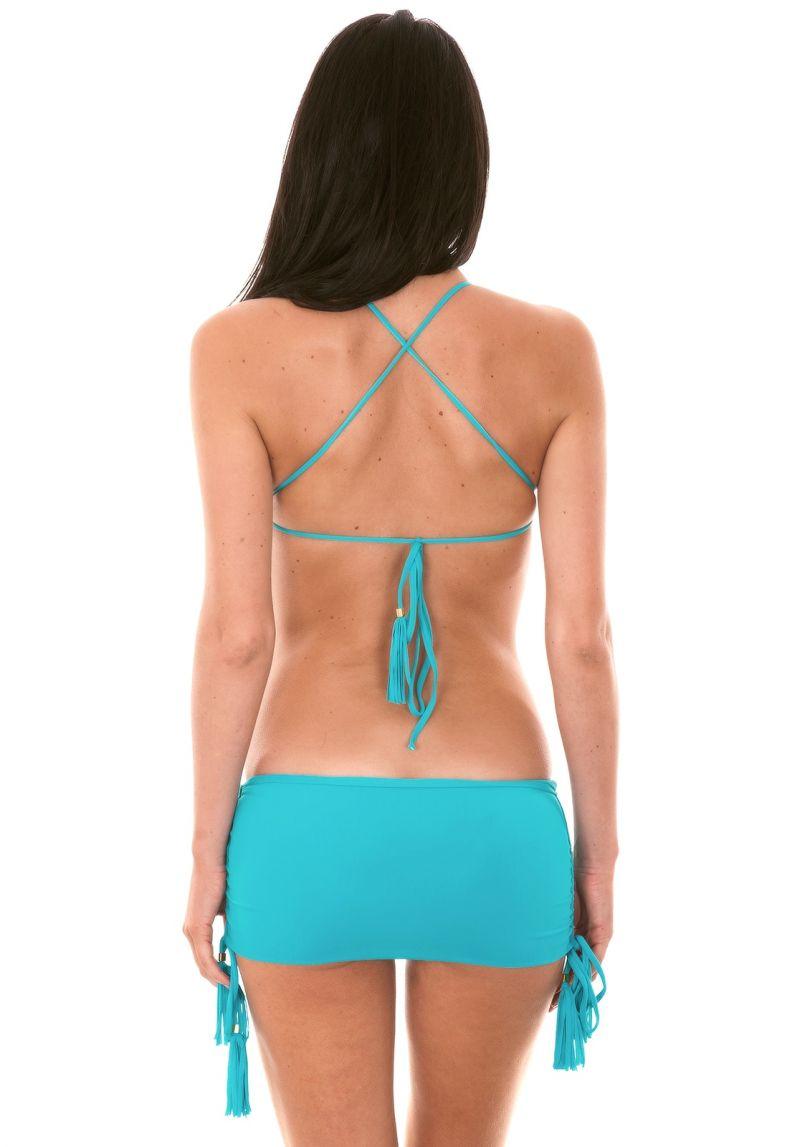 Bikini med blå crop topp och kjolaktig brasiliansk nedredel - AMBRA JUPE NANNAI