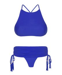 Deep blue bikini with crop top and skirt-style bottom - AMBRA JUPE PLANETARIO