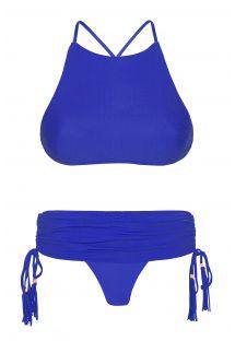 Bikini top crop azul oscuro y braguita estilo falda - AMBRA JUPE PLANETARIO