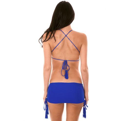 Bikini crop top, mørkeblå, underdel i skjørt-stil - AMBRA JUPE PLANETARIO