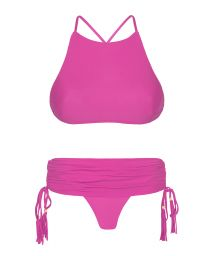 Pink bikini crop top, skirt-style bottoms - AMBRA JUPE ROSA CHOQUE