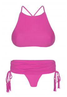 Pinkinväriset bikinit, joissa crop top -mallinen yläosa ja hamemainen alaosa - AMBRA JUPE ROSA CHOQUE