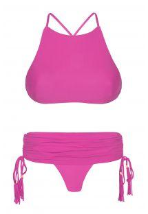 Bikini med rosa crop topp, låg kjolaktig nedredel - AMBRA JUPE ROSA CHOQUE