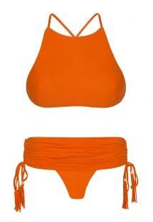 Orange crop top bikini with mini skirt-style bottom - AMBRA JUPE SOMBRERO