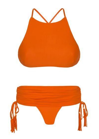 Оранжевое бикини с кроп-топом и плавками в виде мини-юбки - AMBRA JUPE SOMBRERO