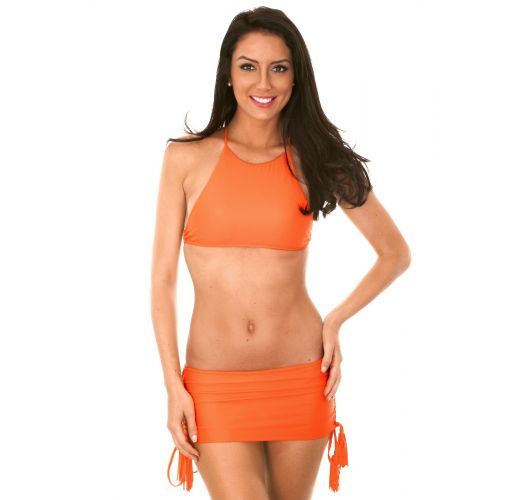Pomarańczowe bikini z crop topem i dołem w stylu spódniczki - AMBRA JUPE SOMBRERO